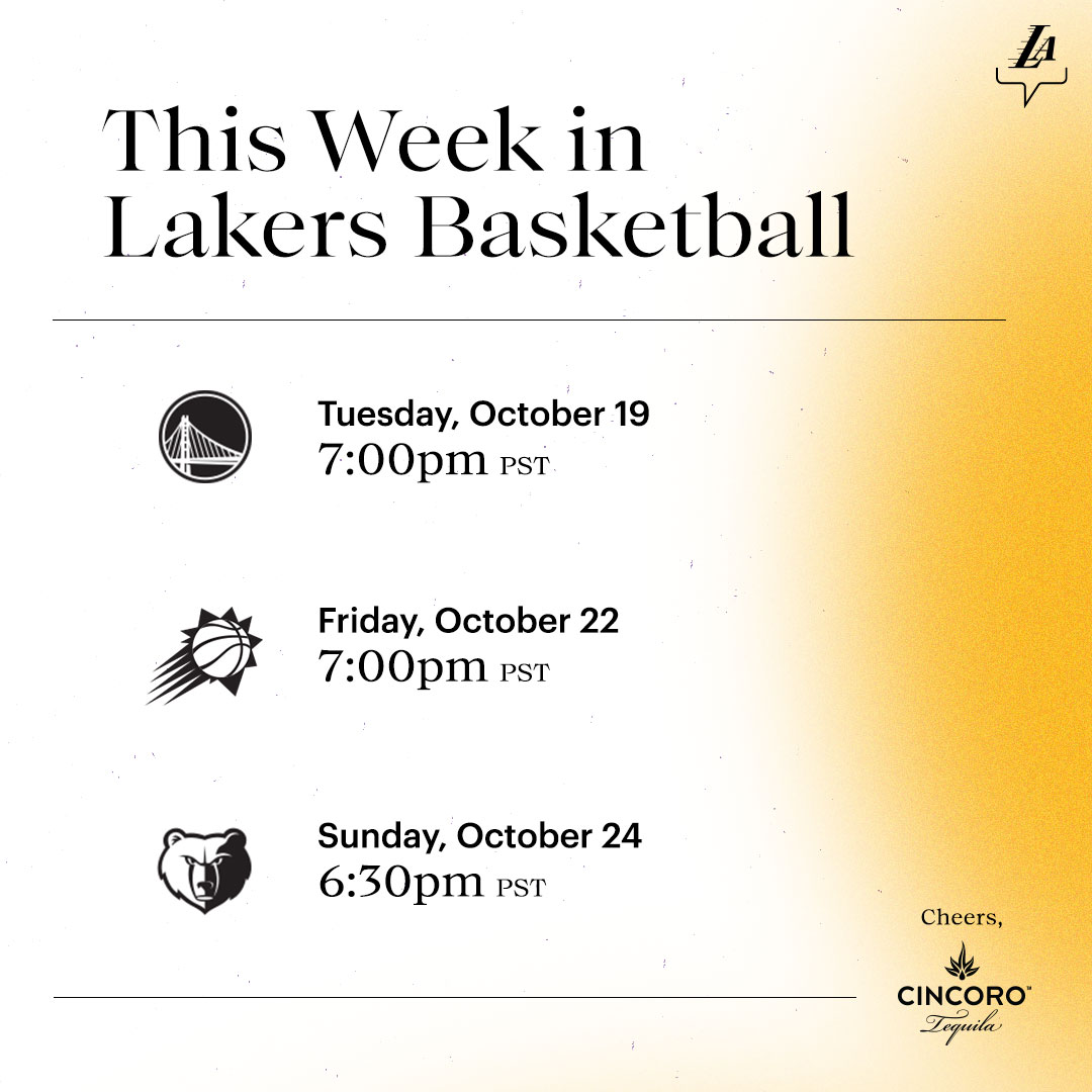 First week of the regular season 👊 #LakeShow x @Cincoro