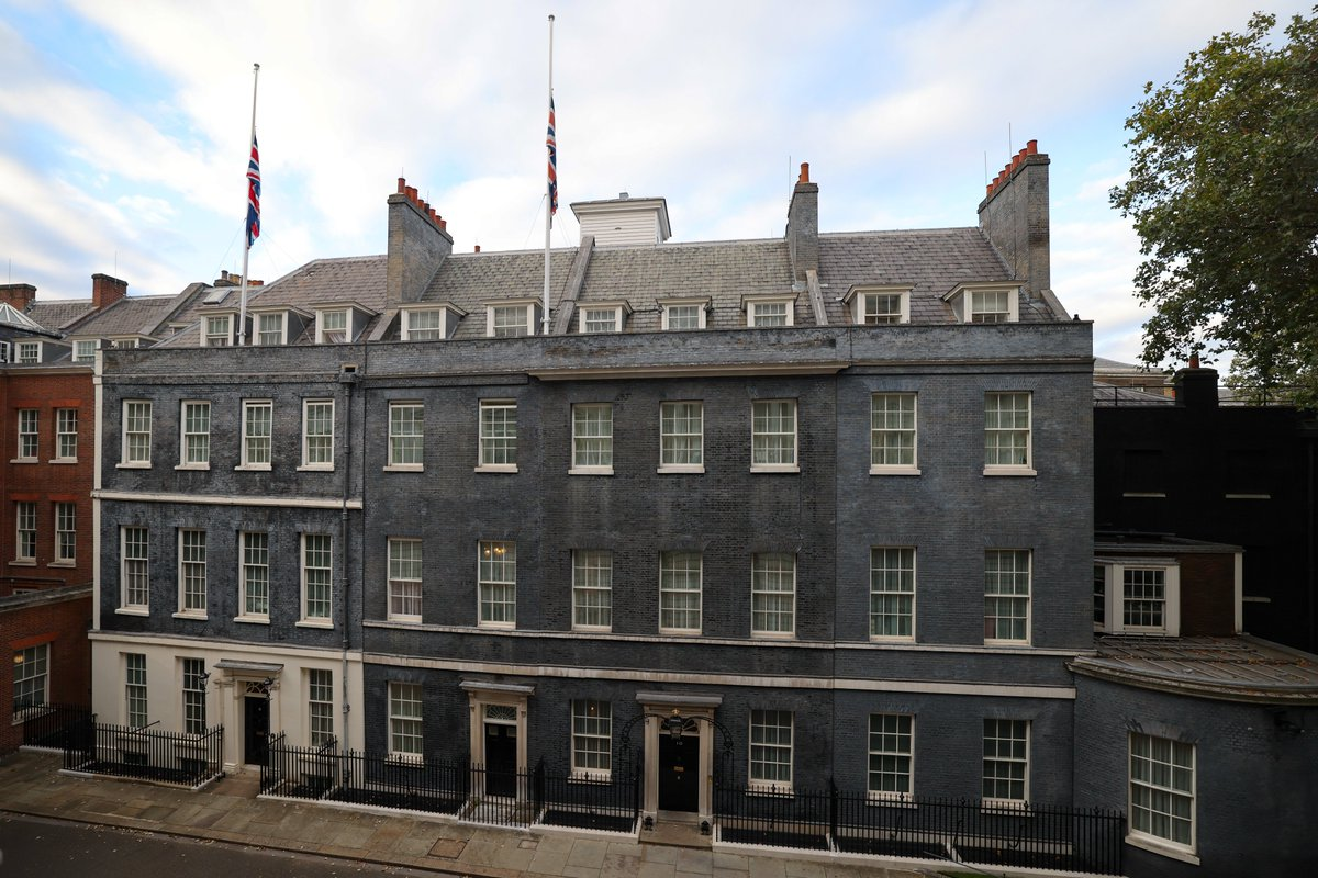 The Union Flags have been lowered to half-mast above Downing Street as a mark of respect for Sir David Amess MP.