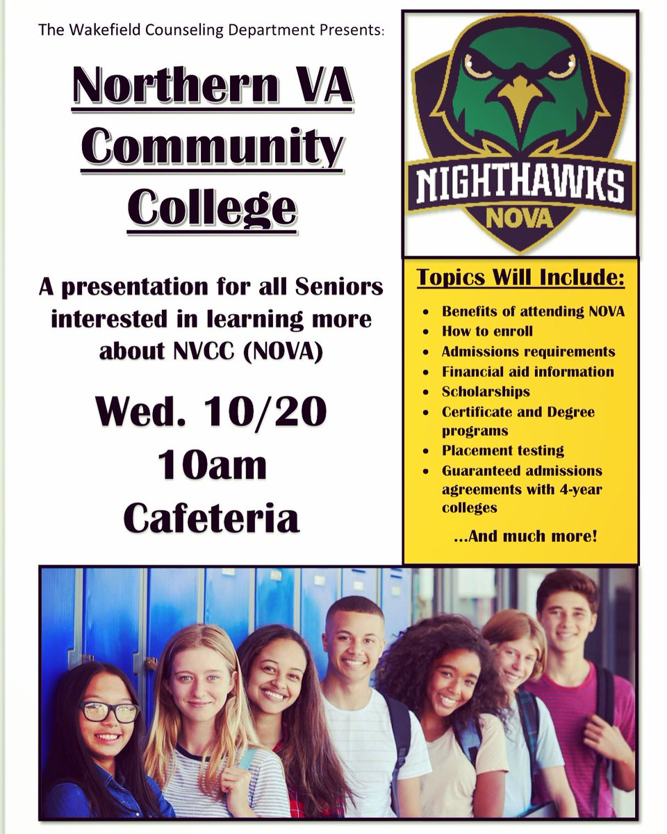 For seniors planning to attend NOVA/NVCC or are interested to learn more. This will be an important information session as NVCC has recently changed some of their pre-requisites.   Let your counselor know if you plan to attend to ensure you receive a pass. <a target='_blank' href='https://t.co/4EXoL4asnw'>https://t.co/4EXoL4asnw</a>