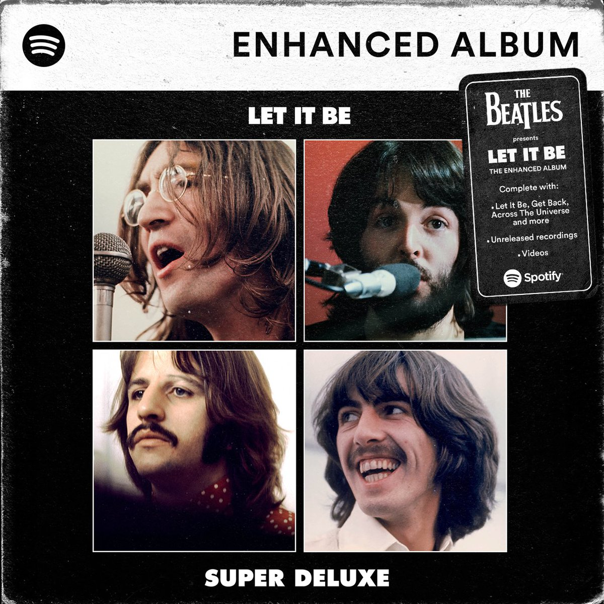 Take an iconic album, add videos and unreleased recordings into the mix, and you've got @thebeatles' Let It Be Enhanced Album. Experience it now: spotify.link/LetItBeEA