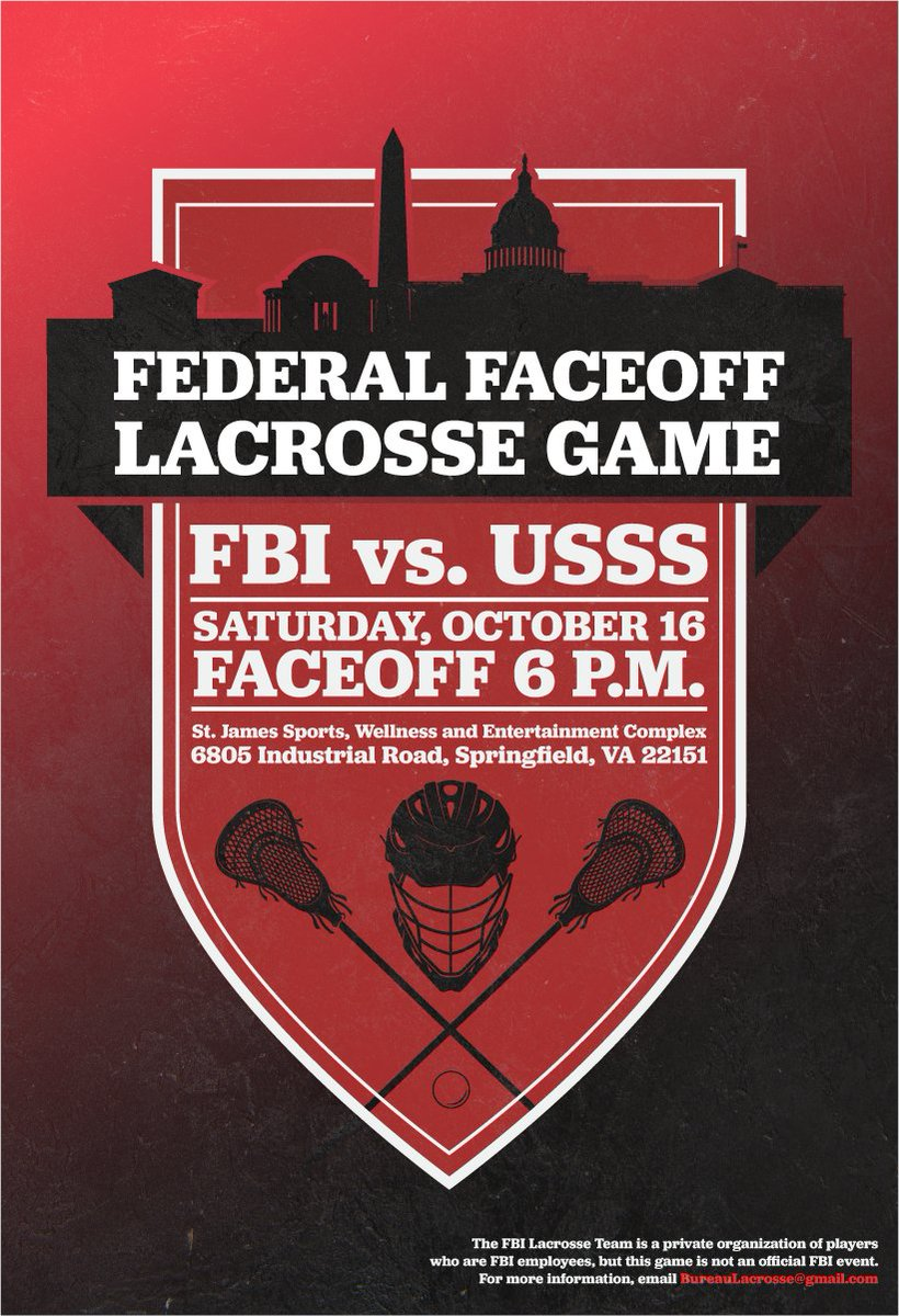 The #FBI will face the @SecretService tomorrow for our second lacrosse game. The rematch starts at 6 p.m. 🥍