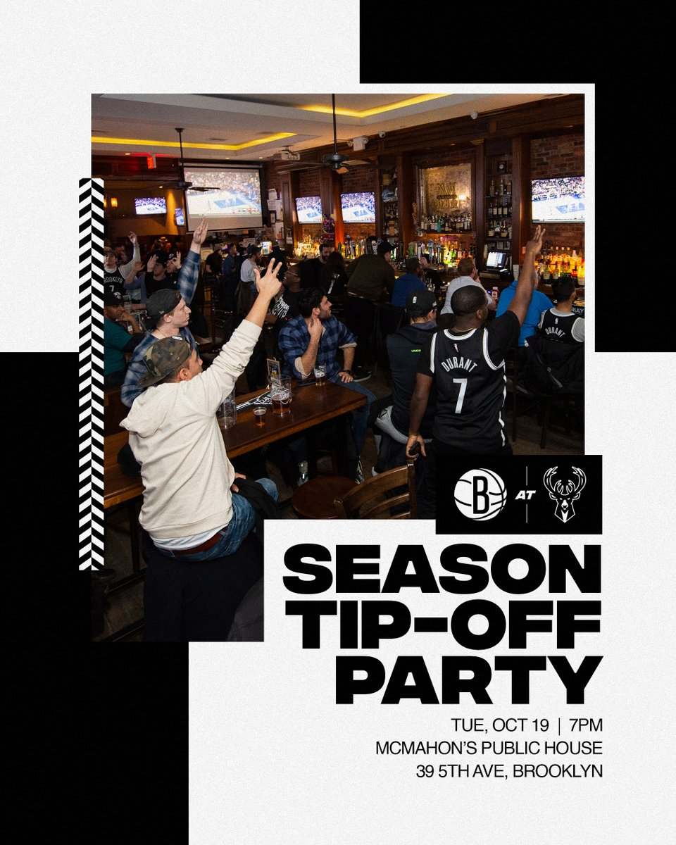 🗣Nets fans! Come out to McMahon's on Tuesday and help us cheer on the guys at our Opening Night Watch Party! We'll have live entertainment and great prizes, including tickets to Opening Week in Brooklyn! 🍻   nba.com/nets/bar-netwo…