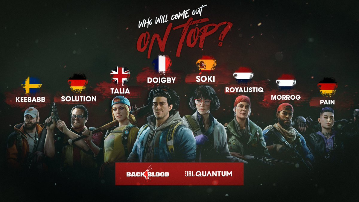 Who's the best zombie slayer in our arsenal?  We're challenging our ambassadors to compete head to head to see which one of them will come out on top in Back 4 Blood 🧟  The crowning of the ultimate zombie slayer will take place on the 25th October… 👑