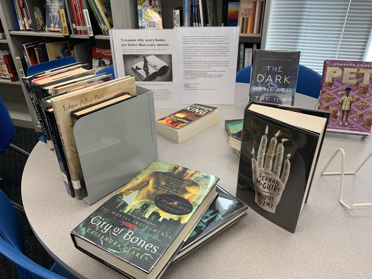 Chilling library reads for October, and five reasons why scary books are better than scary movies. <a target='_blank' href='http://search.twitter.com/search?q=5'><a target='_blank' href='https://twitter.com/hashtag/5?src=hash'>#5</a></a> Books came first. (Re-printed from The Week) <a target='_blank' href='https://t.co/0Ez59o1yrS'>https://t.co/0Ez59o1yrS</a>