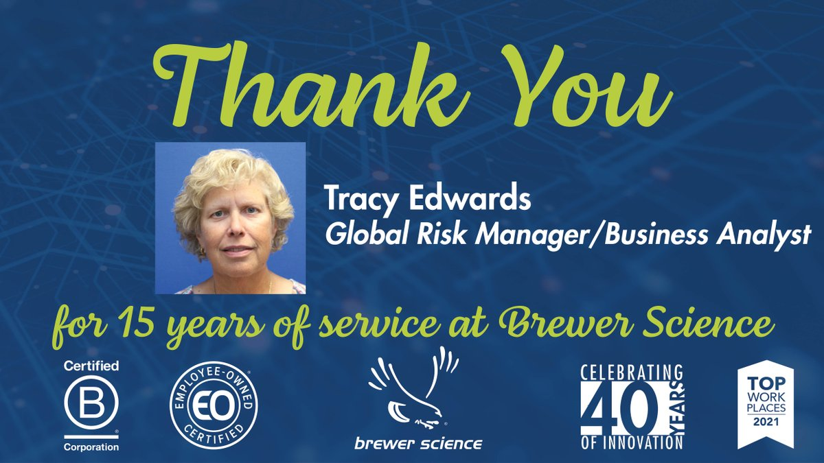 test Twitter Media - Today, we would like to congratulate Tracy Edwards for 15 years of service at Brewer Science. Thank you, Tracy, for your dedication and hard work. . #EmployeeAppreciation #EmployeeAnniversary #WorkAnniversary #EmployeeOwned #WeAreBCorp #BCorps #TopWorkplace #CareerGoals #Careers https://t.co/s2rke2qnv6