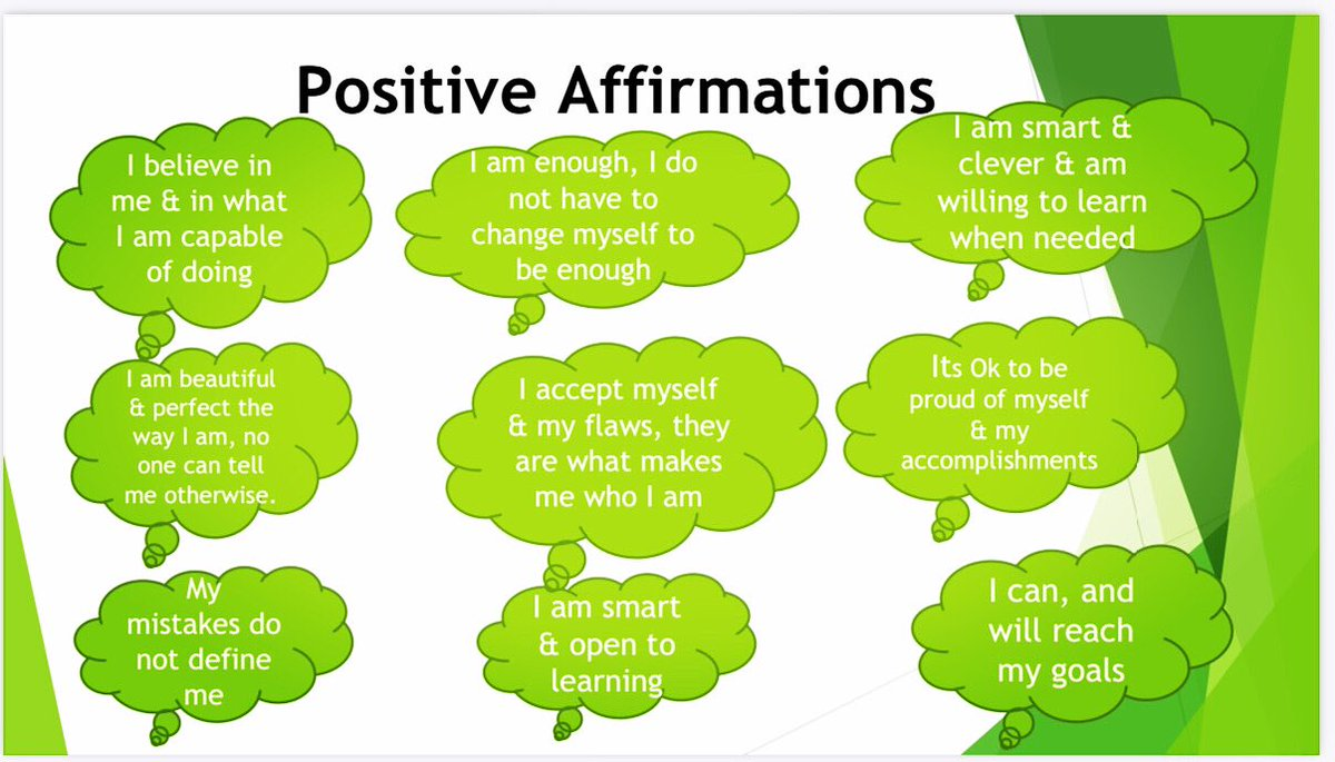 Positive Affirmations are positive statements that can help you challenge and overcome negative thoughts. Repeat them enough to start believing in them.   <a target='_blank' href='http://search.twitter.com/search?q=positiveaffirmations'><a target='_blank' href='https://twitter.com/hashtag/positiveaffirmations?src=hash'>#positiveaffirmations</a></a> <a target='_blank' href='http://search.twitter.com/search?q=growthmindset'><a target='_blank' href='https://twitter.com/hashtag/growthmindset?src=hash'>#growthmindset</a></a> <a target='_blank' href='http://search.twitter.com/search?q=BeKind'><a target='_blank' href='https://twitter.com/hashtag/BeKind?src=hash'>#BeKind</a></a> <a target='_blank' href='https://t.co/fyWhTT0tn2'>https://t.co/fyWhTT0tn2</a>