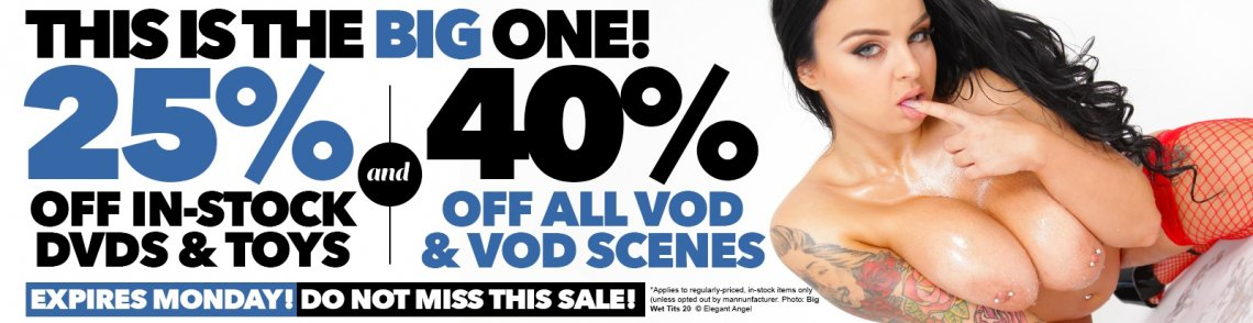 HUGE DVD, VOD, and toy sale! 25% off DVDs & Toys 40% off VOD and VOD scenes! Who doesn't like it big? 😉 bit.ly/3lJhcuY