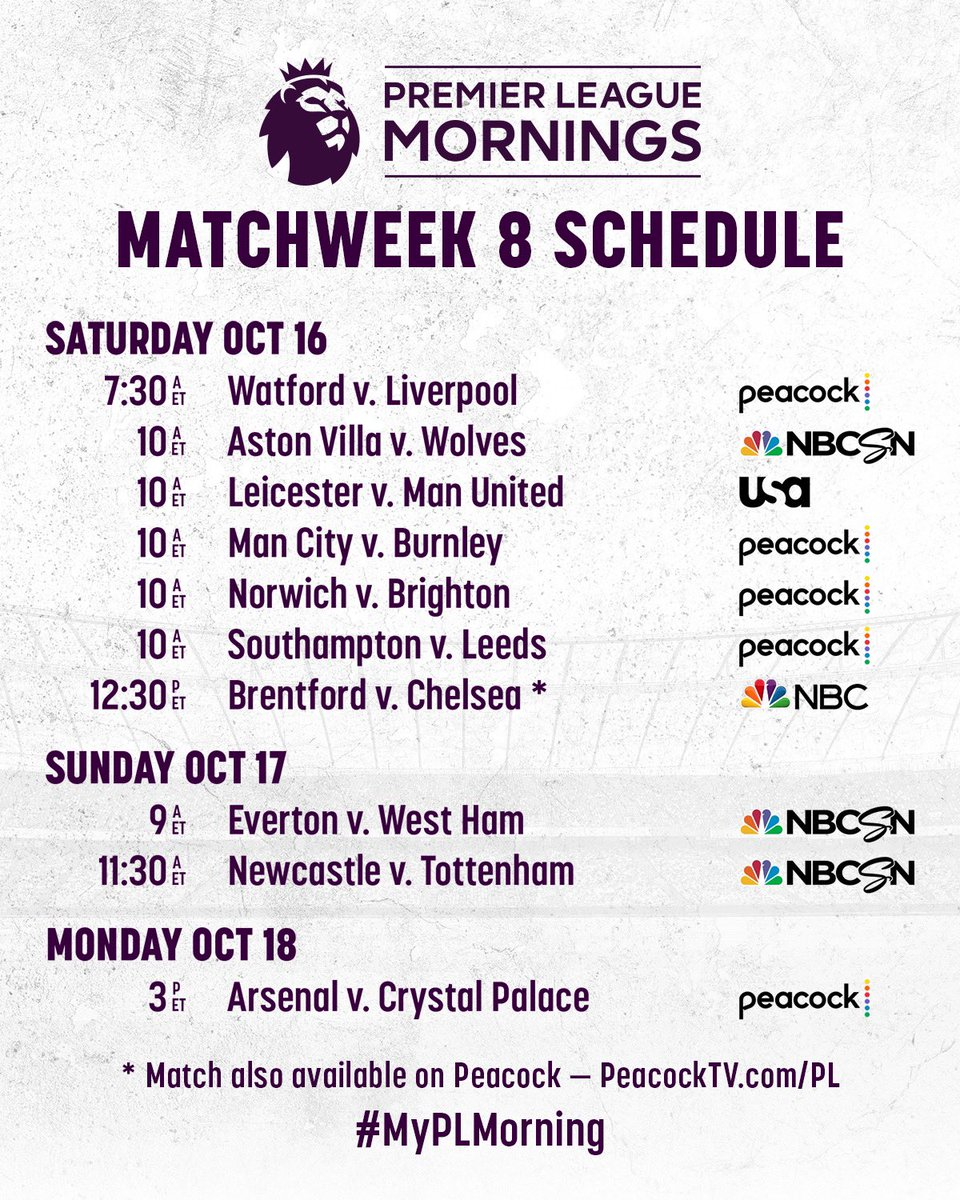 Another big weekend of Premier League football on @NBCSportsSoccer