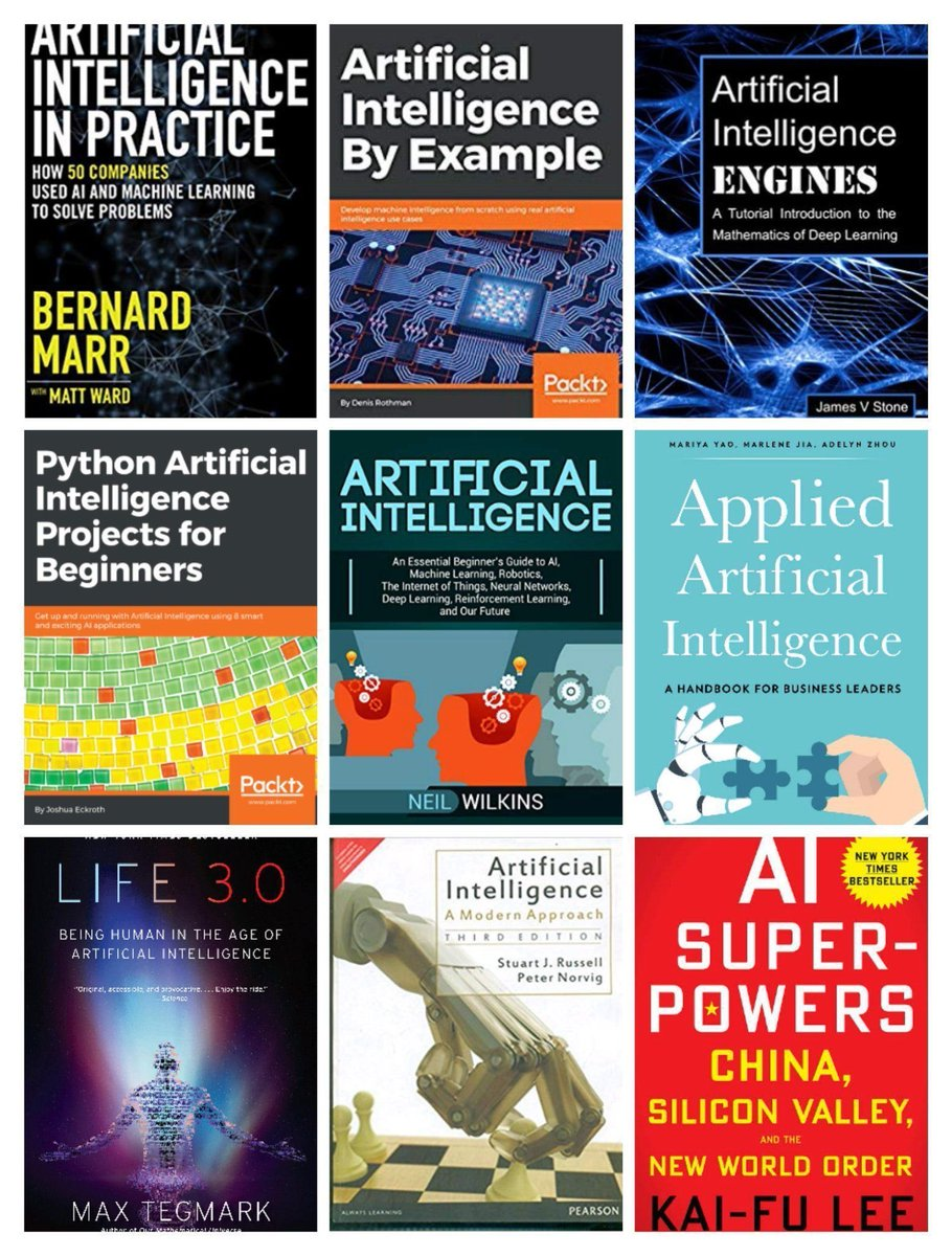 Top Books on Artificial Intelligence.   #BigData #Analytics #DataScience #IoT #IIoT #PyTorch #Python #RStats #TensorFlow #Java #JavaScript #ReactJS #GoLang #CloudComputing #Serverless #Great #DataScientist #Linux #Books #Programming #Coding #100DaysofCode  bit.ly/3942WX2