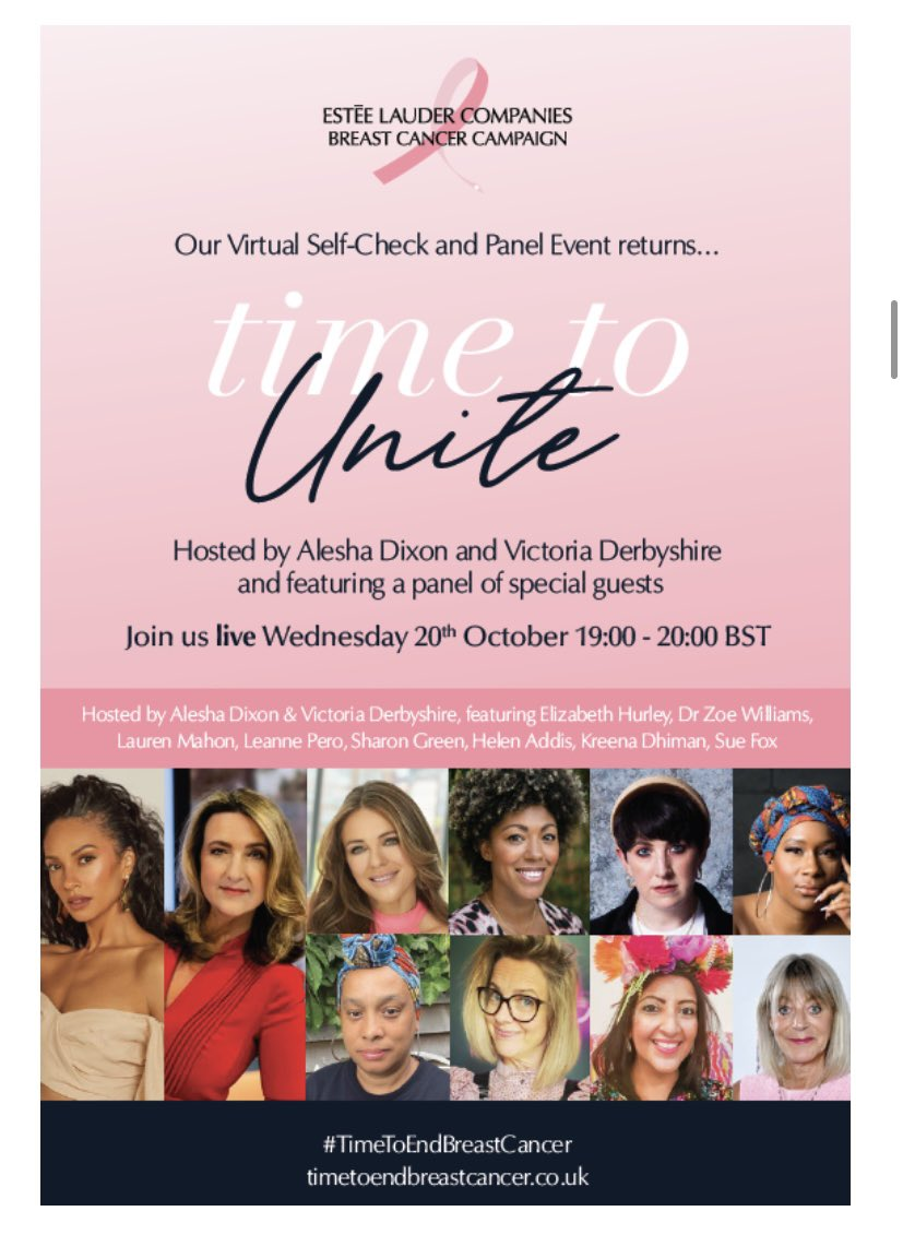 Dear Women - it's breast cancer awareness month - so, do you know how to check yourself? Join me, @AleshaOfficial @DrZoeWilliams @iAmLaurenMahon @ElizabethHurley Helen Addis & more at a virtual self-check event. No need to register jst go to timetoendbreastcancer.co.uk on Wed at 7pm