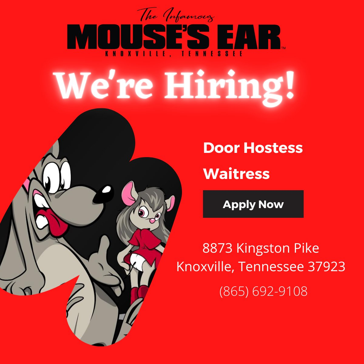 We're hiring! We need waitresses and a door hostess. Apply in person, any time we are open. . . . #NowHiring #EmploymentOpportunity #Waitress #Hostess #Hospitality #Fun #MousesEar #Knoxville #StripJoint