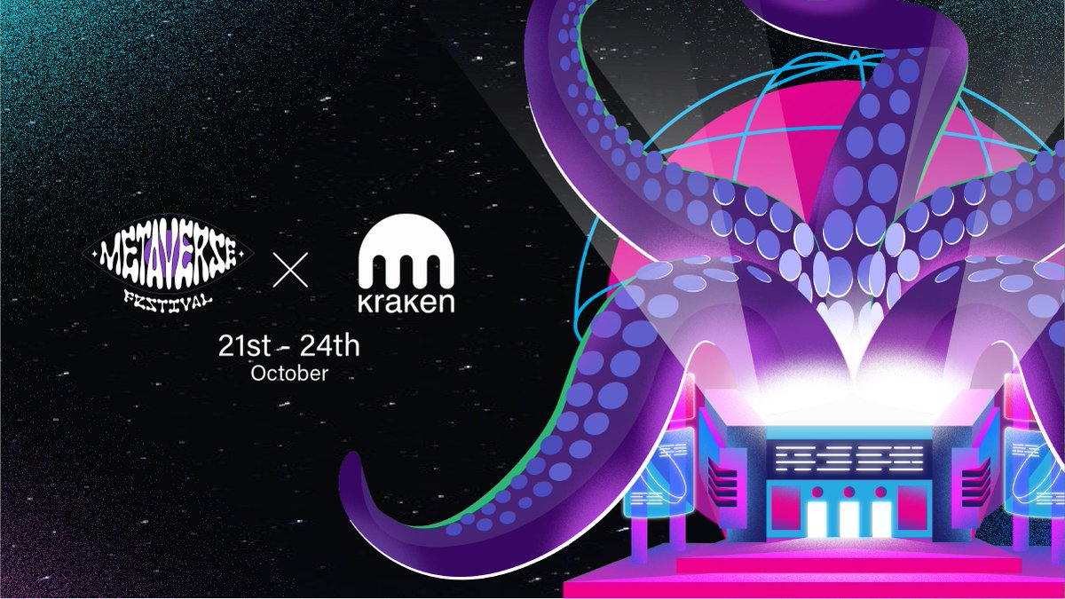 🎶 Join us in @decentraland from October 21-24 🎶  Enjoy 80+ world-class artists & claim exclusive Kraken wearable NFTs for your Decentraland avatar at this year's hottest digital music festival 🔥  blog.kraken.com/post/11545/joi… #MetaverseFestival