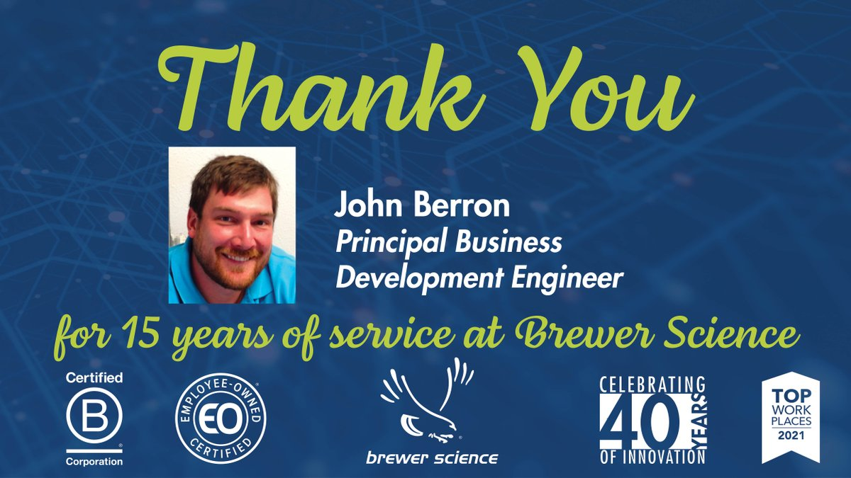 test Twitter Media - Today, we would like to congratulate John Berron for 15 years of service at Brewer Science. Thank you, John, for your dedication and hard work. . . . #EmployeeAppreciation #EmployeeAnniversary #WorkAnniversary #EmployeeOwned #WeAreBCorp #BCorps #TopWorkplace #CareerGoals #Careers https://t.co/jGq8KhGHr9