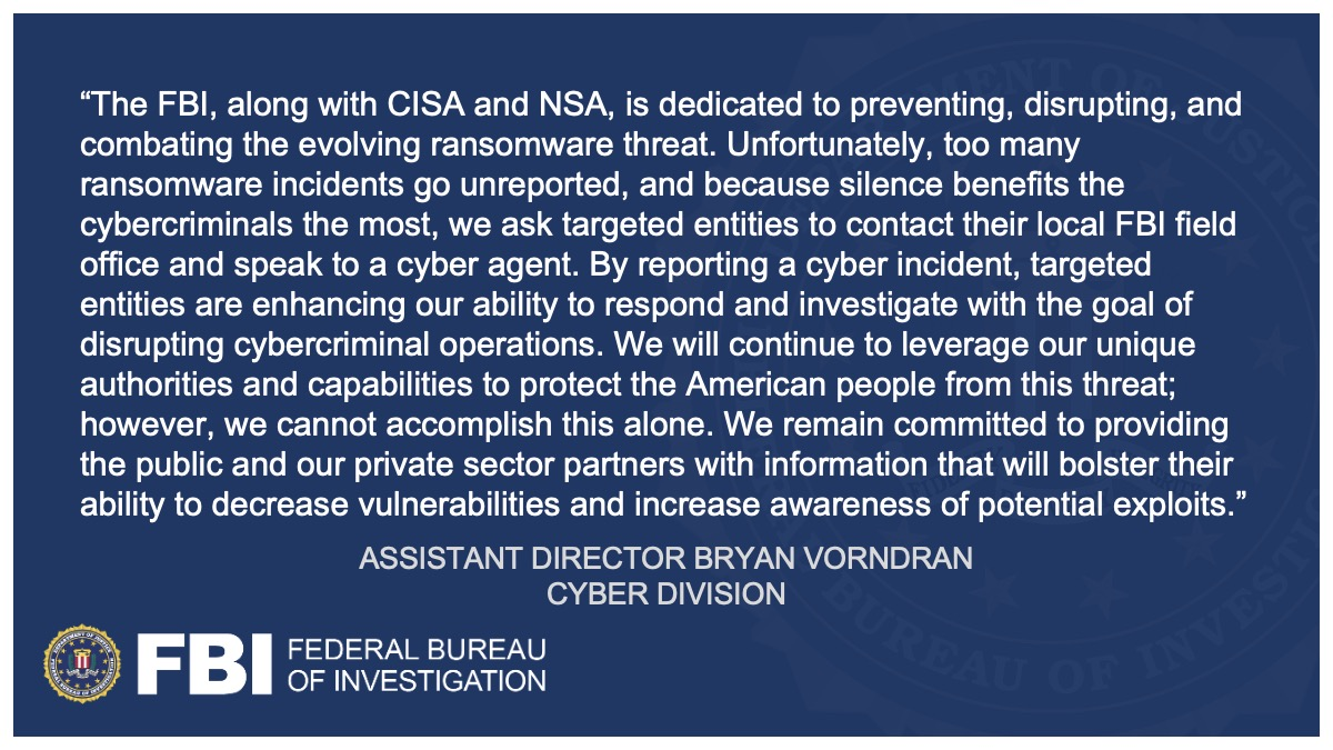 The #FBI, @CISAgov and @NSACyber have released a cybersecurity advisory on BlackMatter ransomware. We urge all organizations, especially those managing critical infrastructure assets, to view this advisory and implement its recommendations. go.usa.gov/xMerx