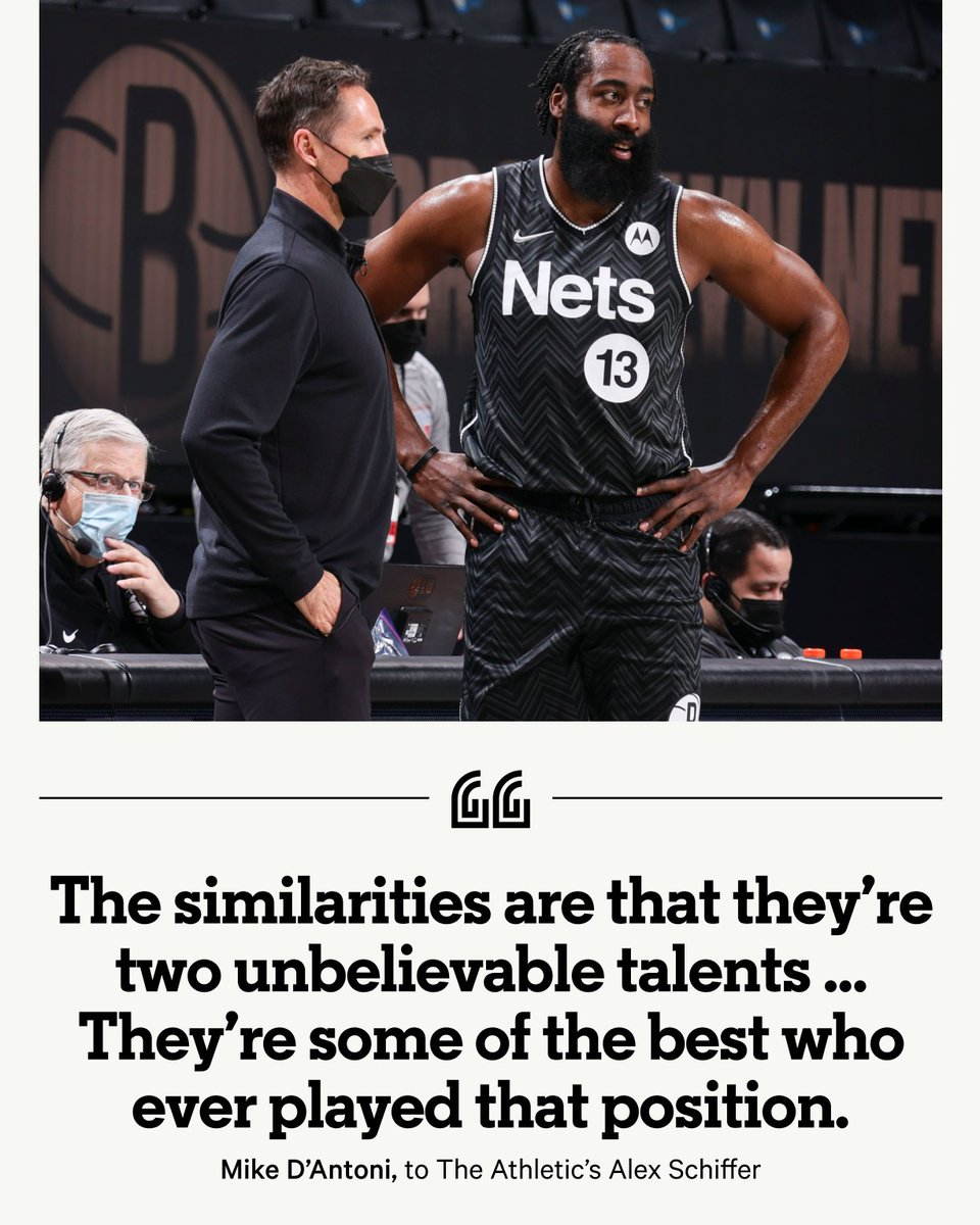"""In 2016, Mike D'Antoni offered Steve Nash a consulting job focused on mentoring James Harden. Years later, the partnership has become reality. Harden and Nash hit it off, seeing much of themselves in each other. """"We're twins."""" ✍️@Alex__Schiffer 📚 bit.ly/3vlxzkm"""