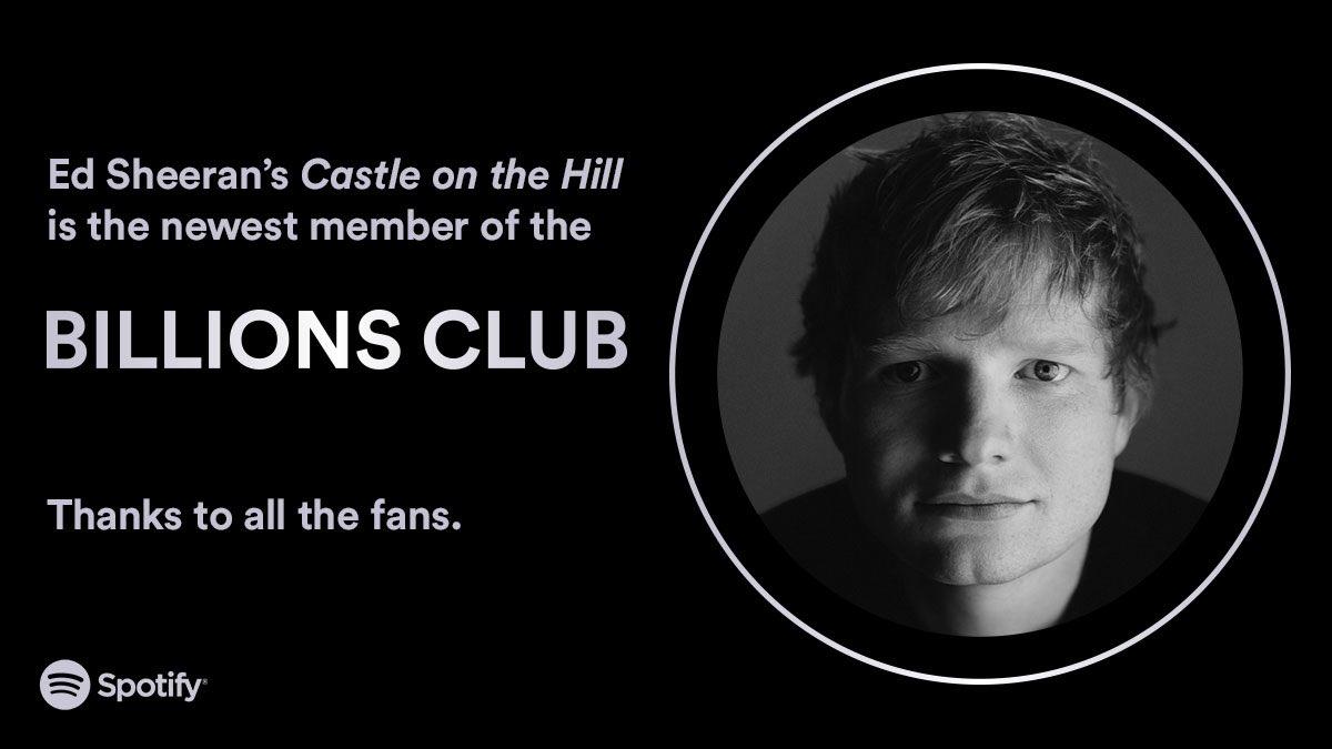 Welcome @edsheeran's #CastleontheHill as the newest member of the #BillionsClub 💫 spotify.link/billionsclub