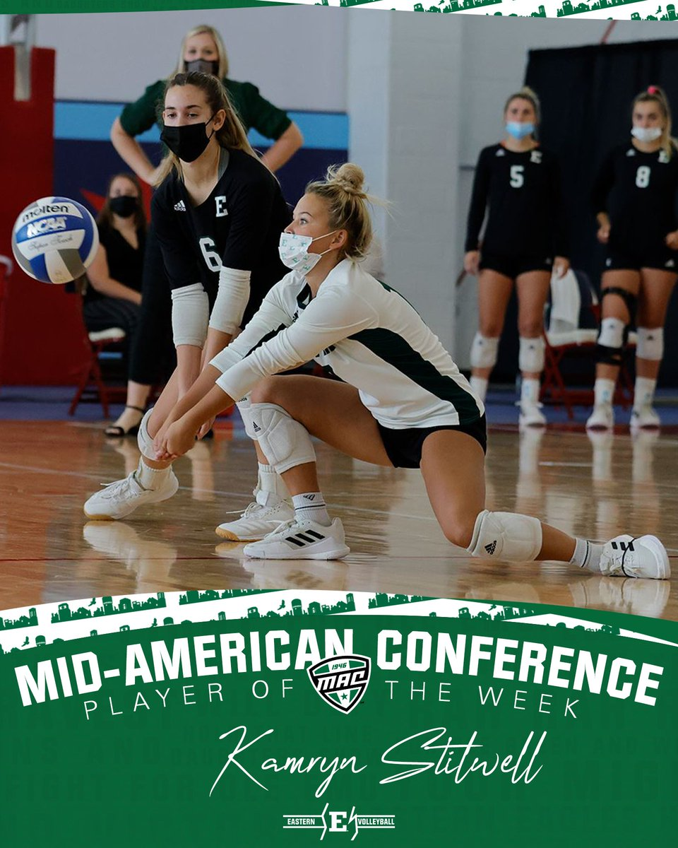 S/O to @kamstill on earning @MACSports West Defensive Player of the Week!  The sophomore averaged 5.75 digs per set between two matches!   📰 bit.ly/3FXYiZm  #EMUEagles   #NTSD