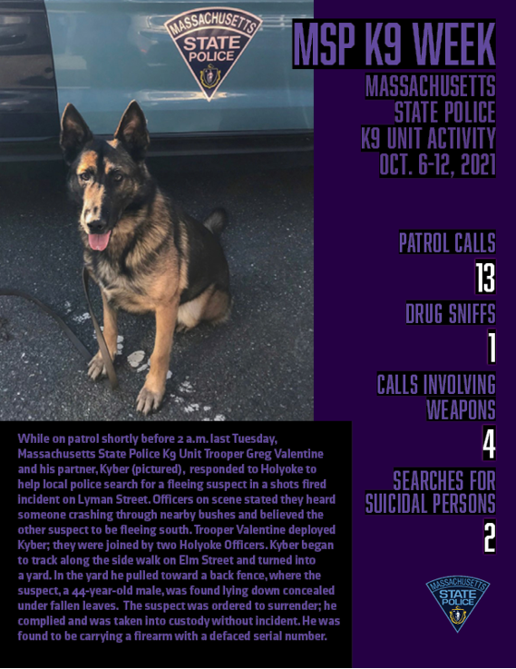 Image posted in Tweet made by Mass State Police on October 18, 2021, 8:47 pm UTC