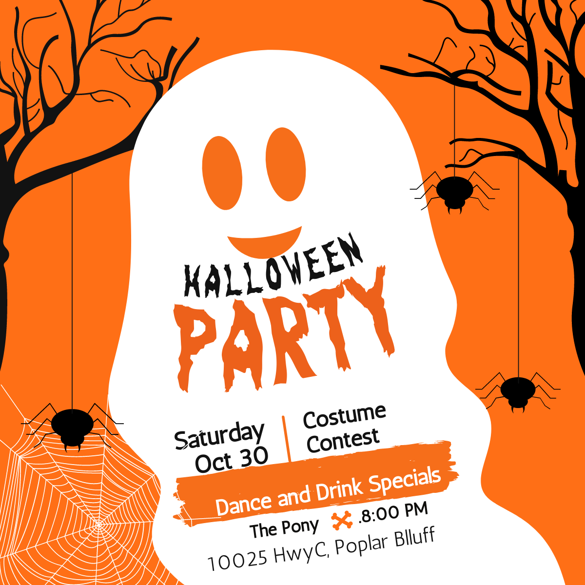 We hope to see everyone at our Halloween Party on Oct 30! Drink and dance specials all night, and a COSTUME CONTEST! Come and scare up a little fun!  . . . #HalloweenParty #CostumeContest #PonyParty #DrinkSpecials #Ghouls #ThePony #PoplarBluff #StripJoint