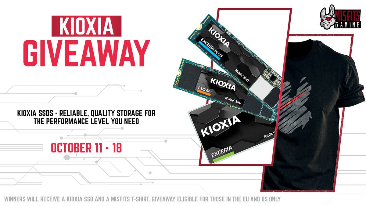 Just like the #LEC at #Worlds2021 , YOUR chances of winning are still alive! We're giving away a KIOXIA SSD + Misfits tee. To enter: 1⃣ Retweet this tweet 2⃣ Click the link for more chances to win sdqk.me/p/kioxia-octob… #KIOXIAxMisfits