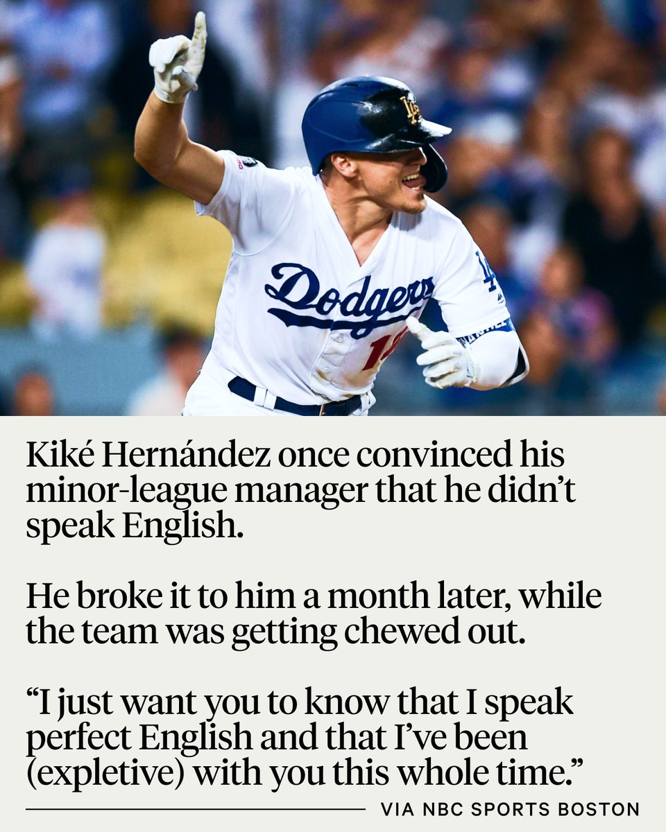 Kiké Hernández: *Always* committed to the bit. More, via @stephenjnesbitt: bit.ly/3aU2lY0