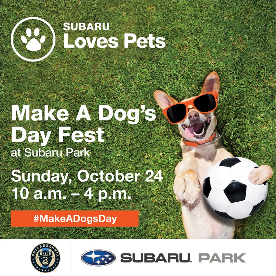 Looking for a fur friend? Subaru is teaming up with the @PhilaUnion to host the first Make A Dog's Day Fest. So, head down to @Subaru_Park to meet your furever friend! Register here⬇️ philadelphiaunion.com/stadium/subaru…