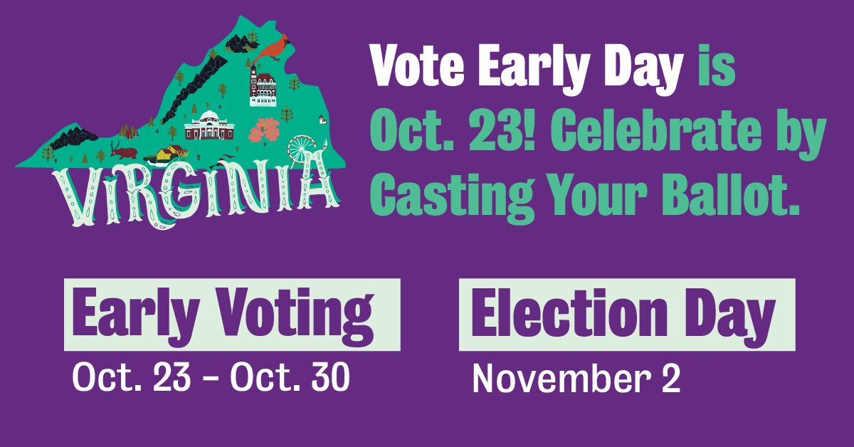 🚨VIRGINIA VOTERS🚨 #VoteEarlyDay is Oct. 23! Here's how you can celebrate: 💻 Head to VoteEarlyDay.org 🔎 Learn when/how to vote early in your local election 🗓 Cast your ballot on or before Vote Early Day (10/23) 🗳 Remind 3 friends to vote early too!