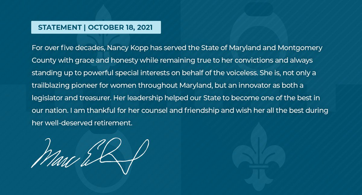 Please read the statement from @MontCoExec Marc Elrich on the retirement of Maryland State Treasurer Nancy Kopp.