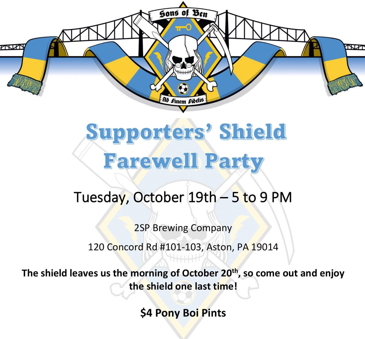 Come out tomorrow to say farewell to the Supporters' Shield...😢 Let's raise her up high one last time until we get her again!! 📍 @2spbrewing 🕔 5:00pm-9:00pm