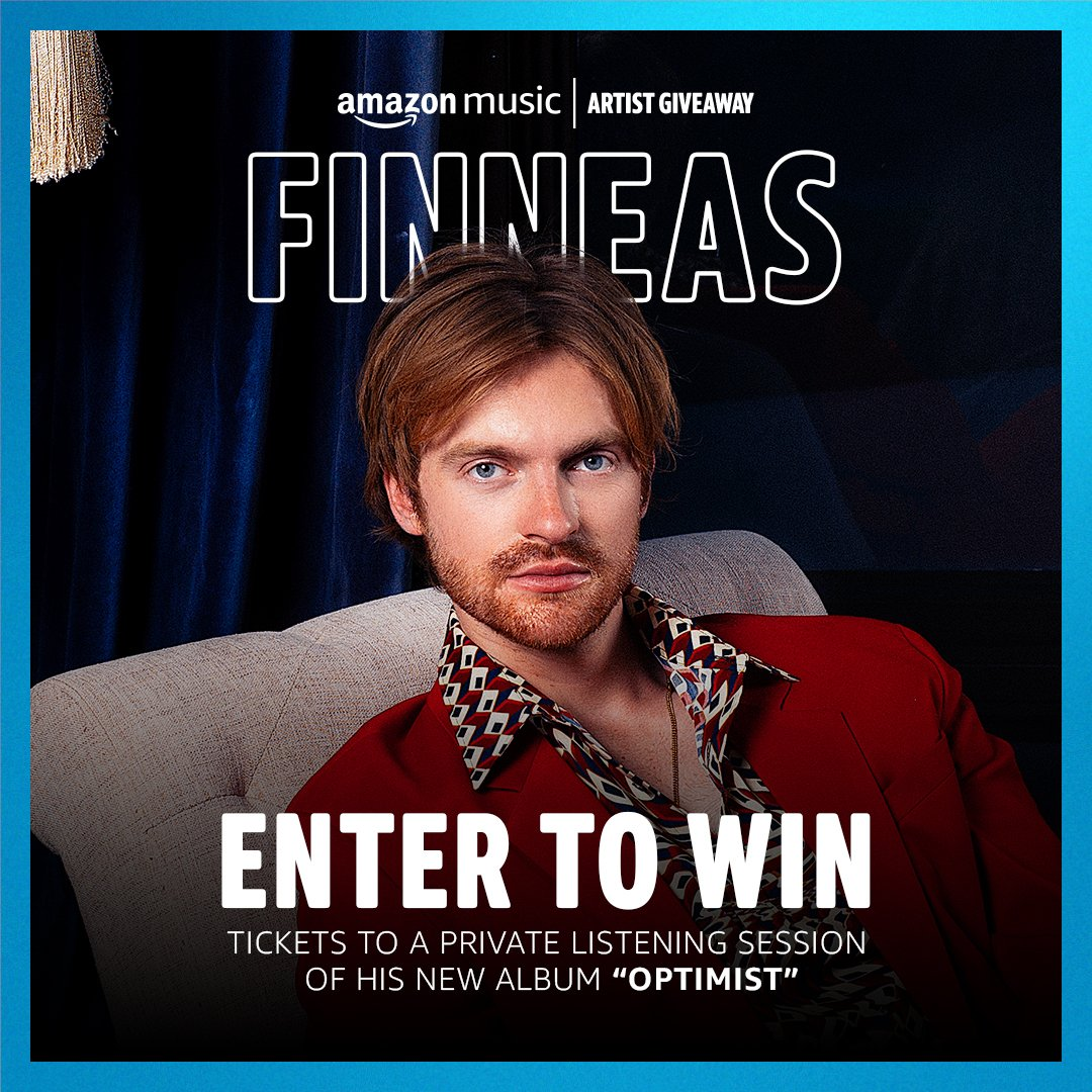 """.@finneas is hosting a private listening session of """"Optimist"""" at a secret location in LA, tomorrow 10/19. Fans will have a chance to hear the album in Dolby Atmos! For a chance to win, head to our IG page: amzn.to/3vn7txz Official Rules: amzn.to/Rules"""