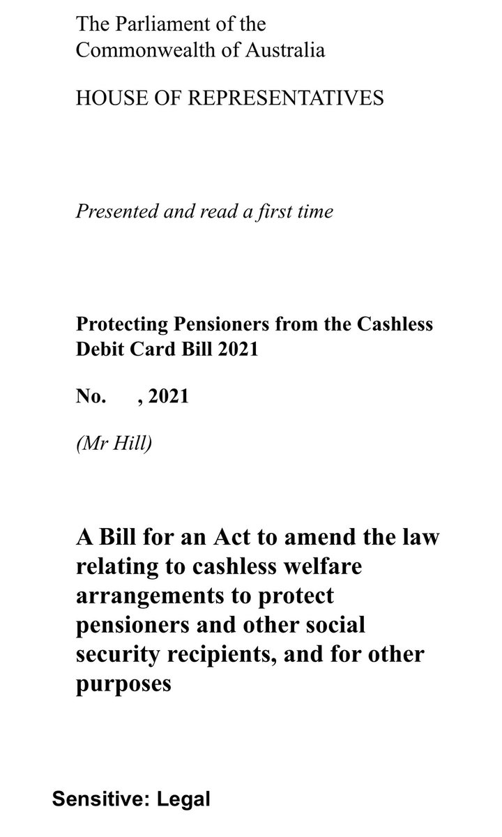 Next week, I'm introducing this Bill to SCRAP Scott Morrison's cruel Cashless Debit Card.  This will STOP his plan to roll out out the Cashless Pension Card to all Aged Pensioners and other Australians. #auspol