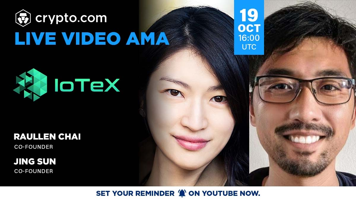 Tune in today at 4PM UTC / 9AM PST 📺 Live Video #AMA with @raullen & @cbetass, Co-Founders of @iotex_io 👉 youtu.be/3M878T_2tLI Followed by a 🎙 live conversation on telegram t.me/CryptoComOffic…