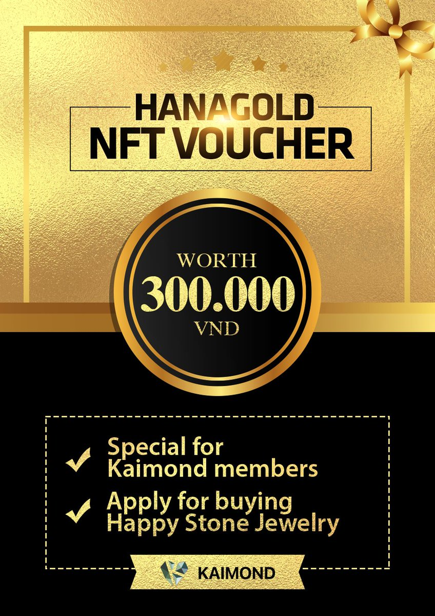 Dear Kardians, To celebrate our $KAI Diamond hands' efforts in the recent @TokenHanaGold #IDO event, #NFT Vouchers worth 300,000 VND can be claimed by the top 1000 #KAIMOND members start from 11 AM (GMT+7) October 19, 2021. Claim at: dapp.hanagold.finance/#/bounty