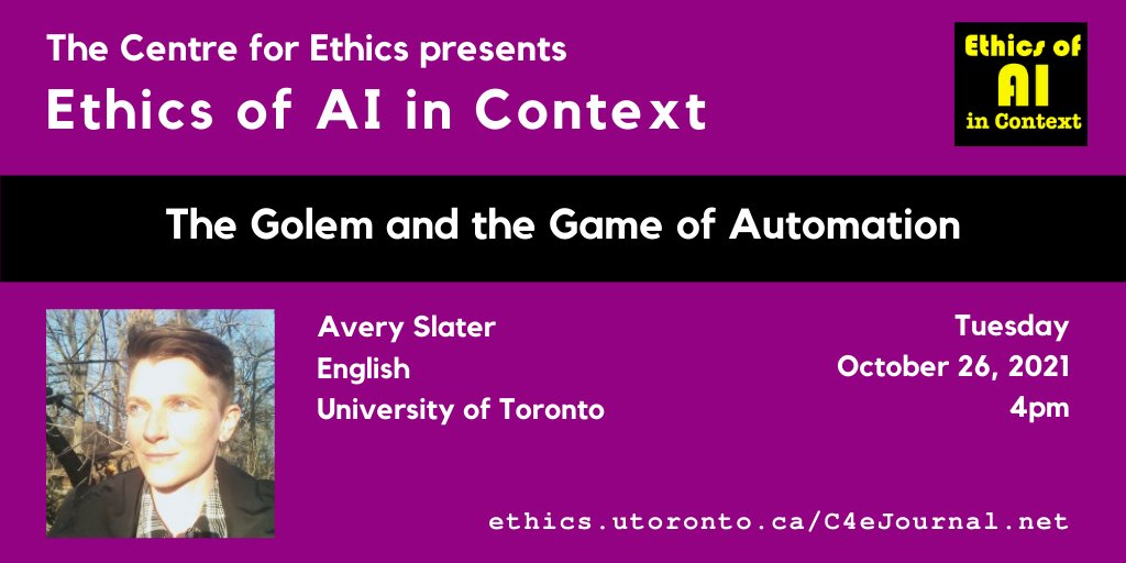 #TorontoSRI Faculty Affiliate Avery Slater presents at @UofTEthics on Oct 26th! Details and registration here⤵️