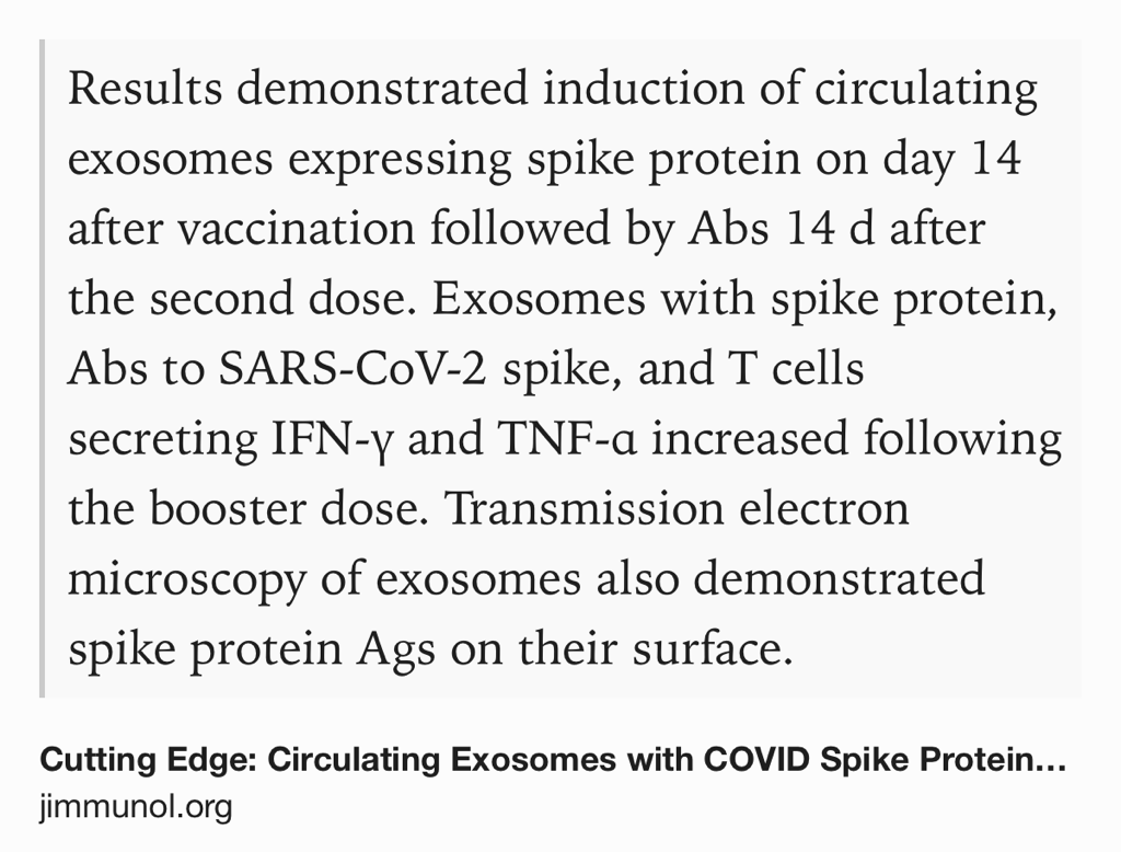 Circulating exosomes with spike protein🤔