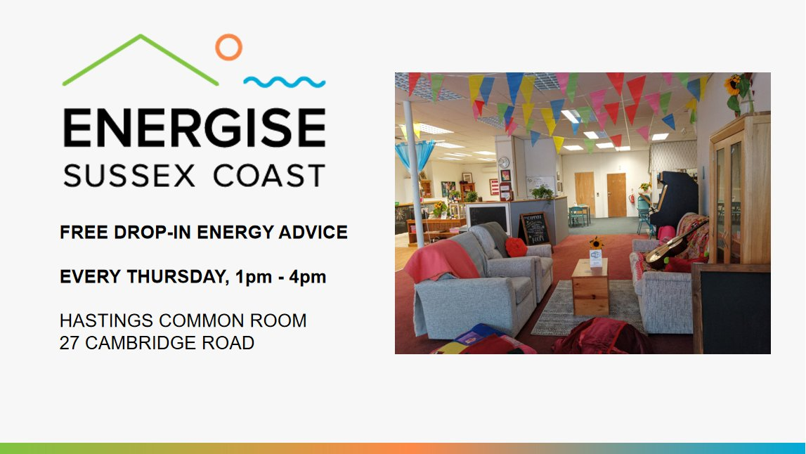 We are offering a free energy advice service from 1 to 4 every Thursday at the Hastings Common Room. Drop in to see what we can do to help you save money. #Hastings @hastingscommons #energybills