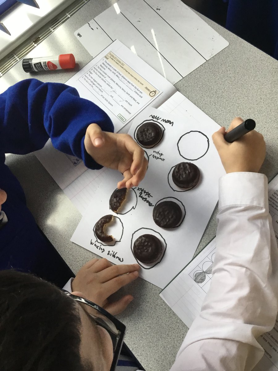 In our last week before the holidays, our #Year5 class used & nibbled Jaffa Cakes to demonstrate their understanding of the phases of the #moon 🌛✨ #science #NASA #space