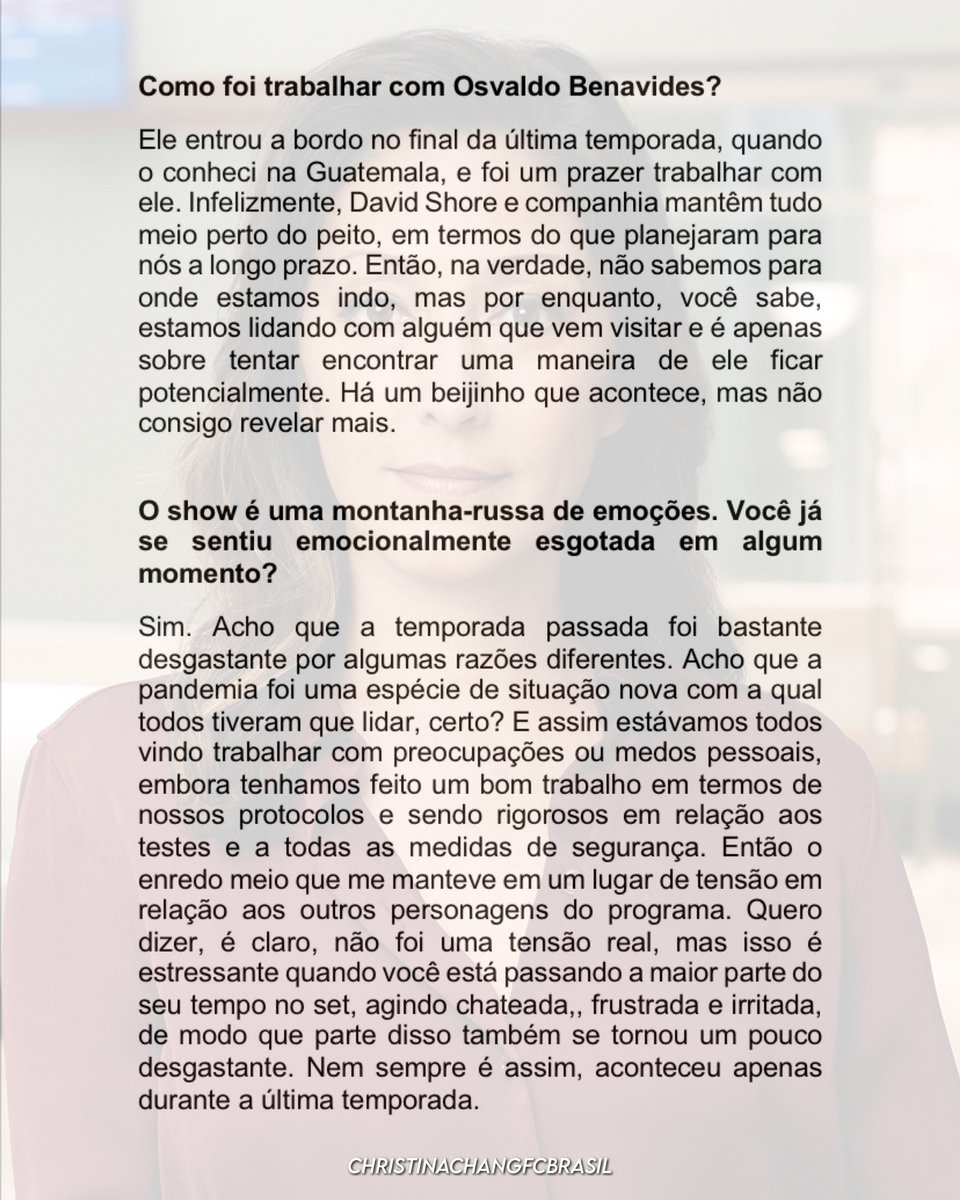 NEW INTERVIEW @_ChristinaChang for the Cinema Express website. Portuguese translation.  #ChristinaChang #AudreyLim #TheGoodDoctor #TGDSeason5 #interview