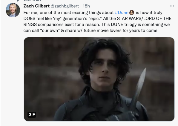 this to me is something that worries me about culture in general. the insistence on having to have 'your generation's' epic, that you must align yourself with a movie franchise, that it's 'yours,' a meaningless tribalistic thing about what movies you like.