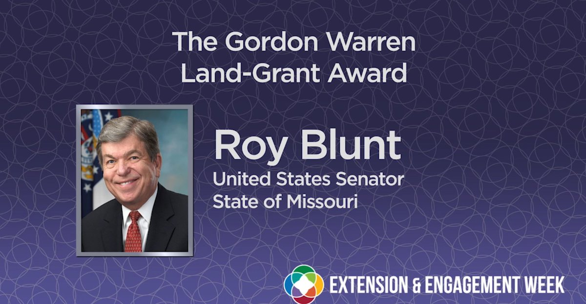 Senator Roy Blunt is the 2021 recipient of the Gordon Warren Land-Grant award. Sen. Blunt has been a generous supporter of and advocate for @UMSystem. Thank you for making a difference @RoyBlunt! #UMEngagementWeek #MissouriHealth