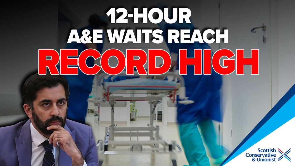 Thanks to @HumzaYousaf's lack of leadership, the number of patients facing 12-hour waits in A&E has hit an all-time high. Get a grip Humza, our A&E departments are in complete crisis.
