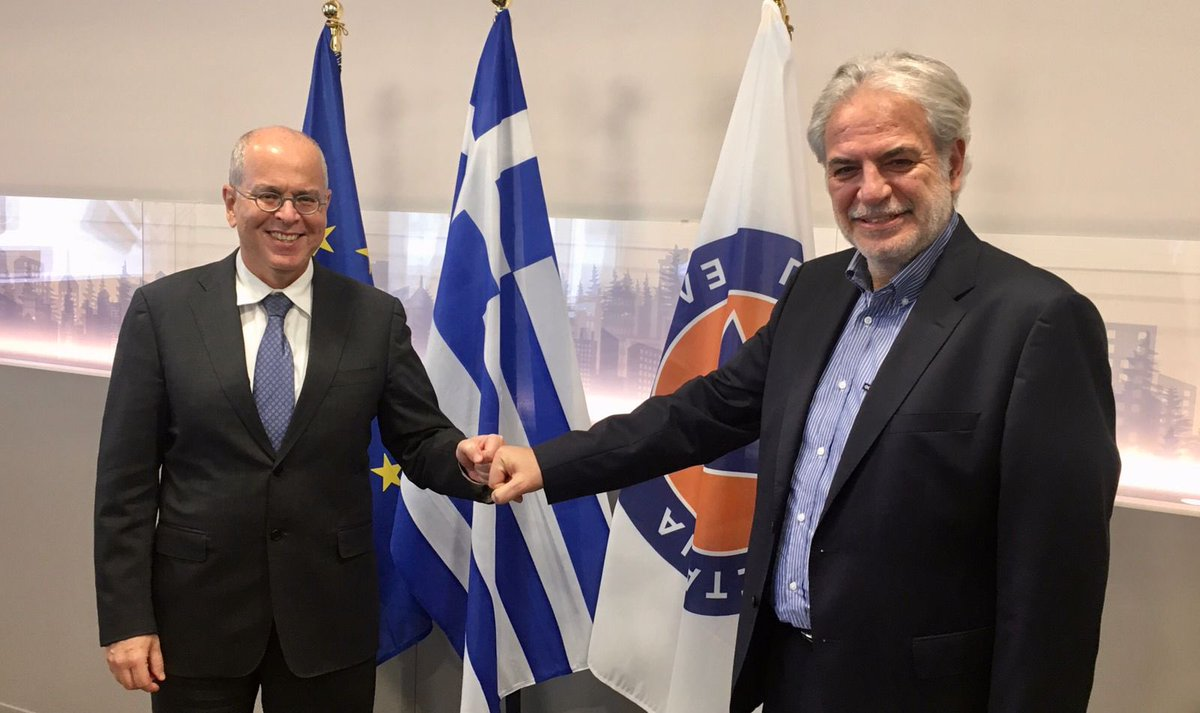A very constructive meeting today with #Israel Ambassador @YossiAmrani We reaffirmed the excellent cooperation 🇬🇷 🤝 🇮🇱 focusing on deepening our joint efforts on the bilateral & international level. Tackling #climatecrisis is a common goal. @GreeceInTelAviv @IsraelinGreece