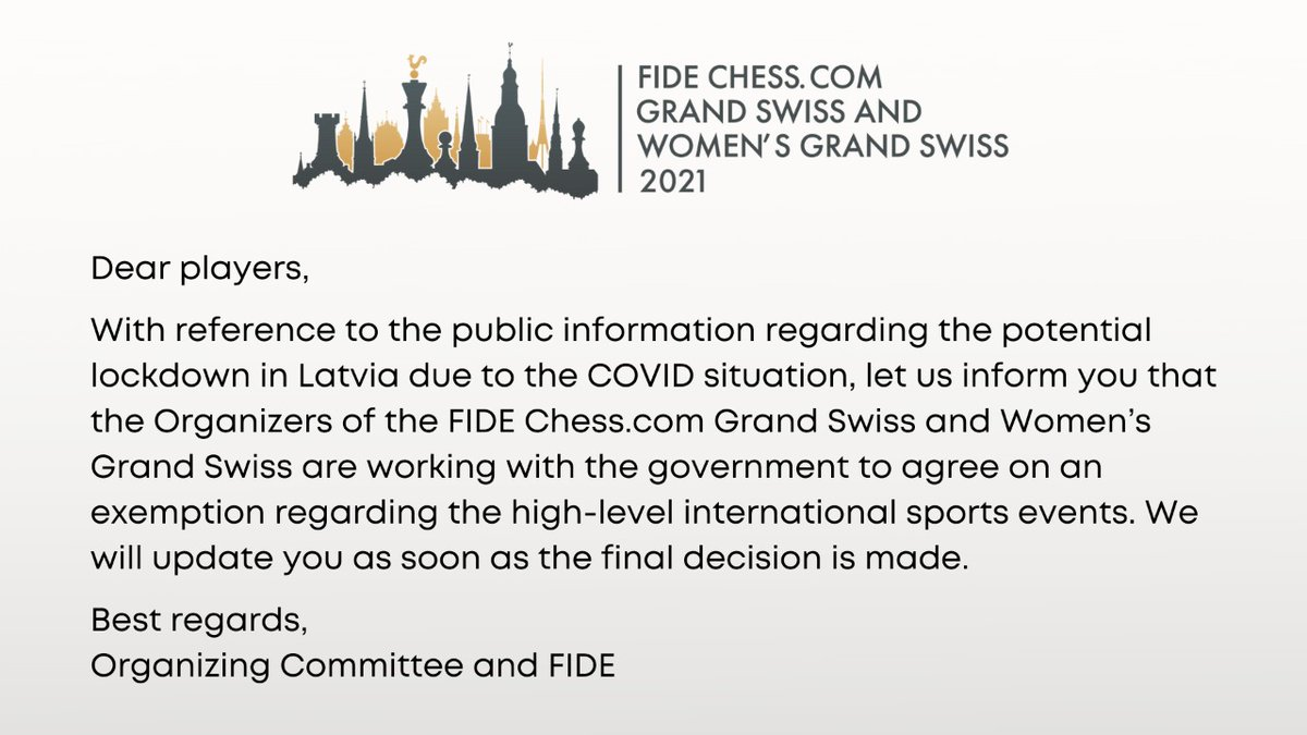 test Twitter Media - The Organizers of the FIDE https://t.co/H5lI2q7beO Grand Swiss and Women's Grand Swiss are working with the government to agree on an exemption regarding the high-level international sports events. We will update you as soon as the final decision is made. https://t.co/VS4zfdVlGP