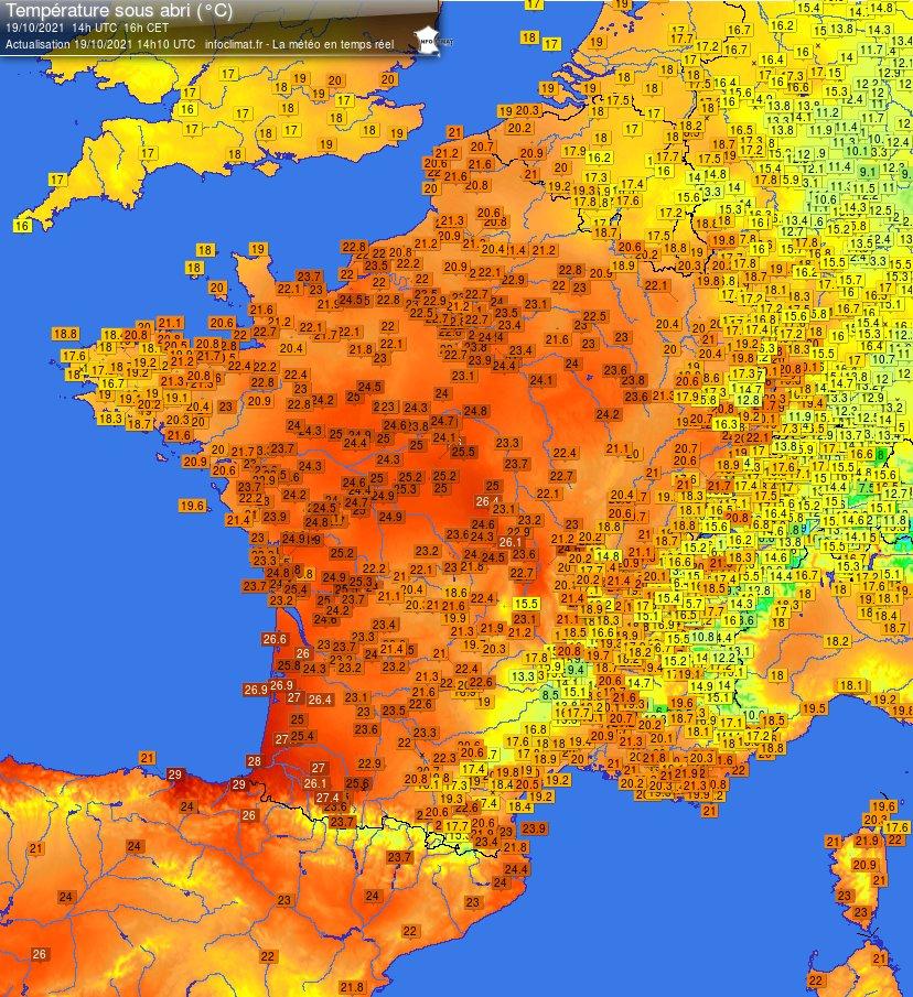 Chaleur du sud-ouest au centre de la France ce mardi avec jusqu'à 30°C très localement près des Pyrénées (30.3°C à Aicirits au #paysbasque notamment). Carte @infoclimat