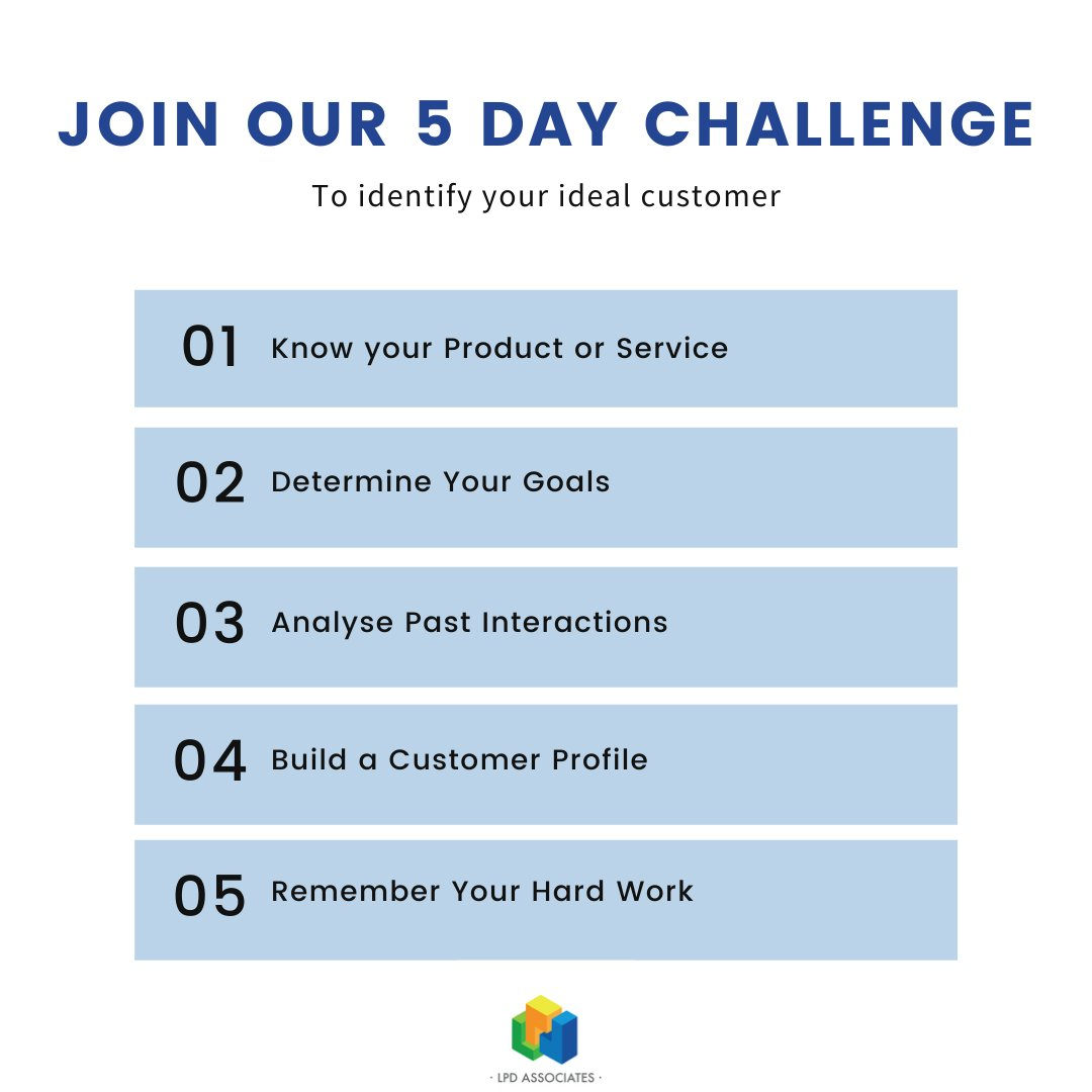 We've put together this really simple 5 day challenge to help you identify your key customers. Join us tomorrow for day one!  #idealclient