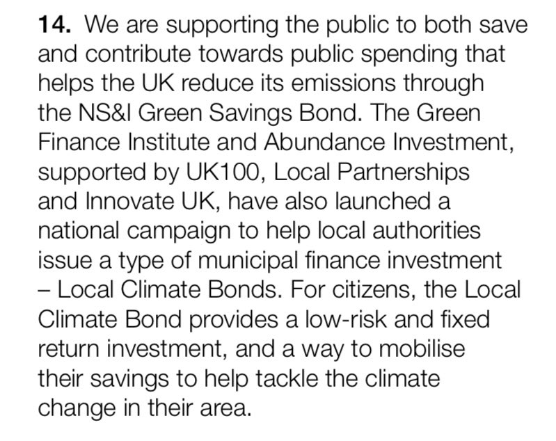 RT @RyanJudeGreen Our Local Climate Bond Campaign with @AbundanceInv, supported by @UK100_, @innovateuk & @LP_localgov also highlighted! Helping councils fund local climate projects & engage residents.  Find out more: https://t.co/JgB86yzXb4 @oikonomics @_DrMarkDavis @karlharder @RosieCade