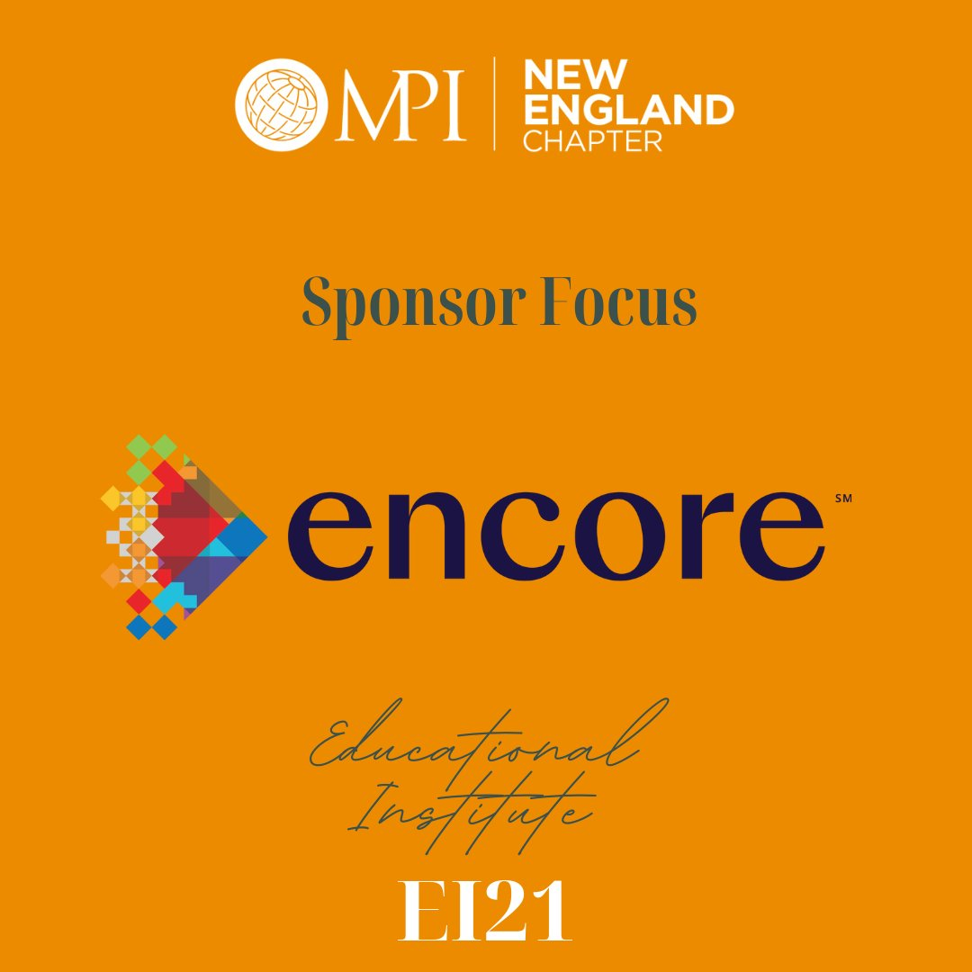 Today we are highlighting an important sponsor, @EncoreGlobal_!   Encore is showing the world in-person meetings can be safe with #WeMetThere https://loom.ly/SYS7-rc Register for EI! https://loom.ly/eNXJ-_o  #joinme #mpine #mpi #strongertogether #ei #ei2021 #ei21 #EncoreMetThere
