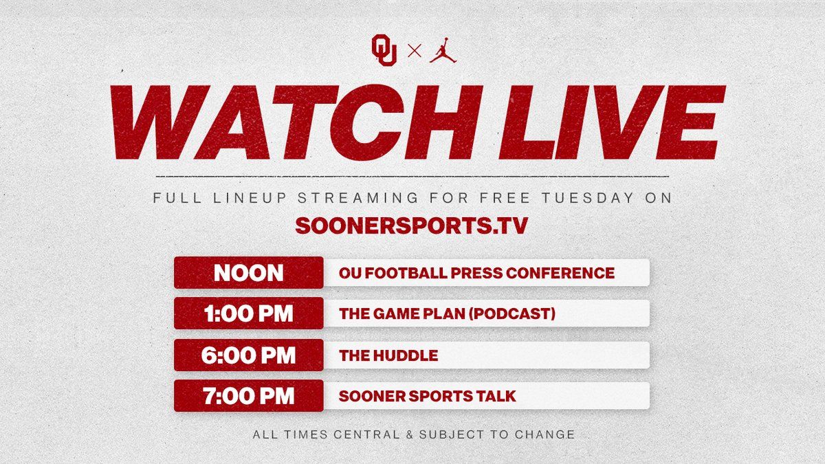 Full lineup streaming for 🆓 Tuesday on SoonerSports.tv