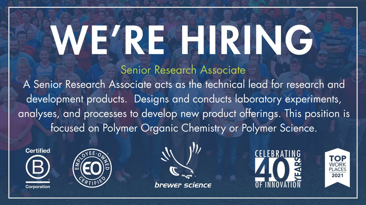 test Twitter Media - Brewer Science is looking for a  Senior Research Associate to join our R&D Team. Learn more about the position and other current job openings by visiting : https://t.co/kyHlFy5Q6s Brewer Science is proud to be @certified_eo and Certified B Corporation (@bcorpuscan) https://t.co/llxQluTPI9