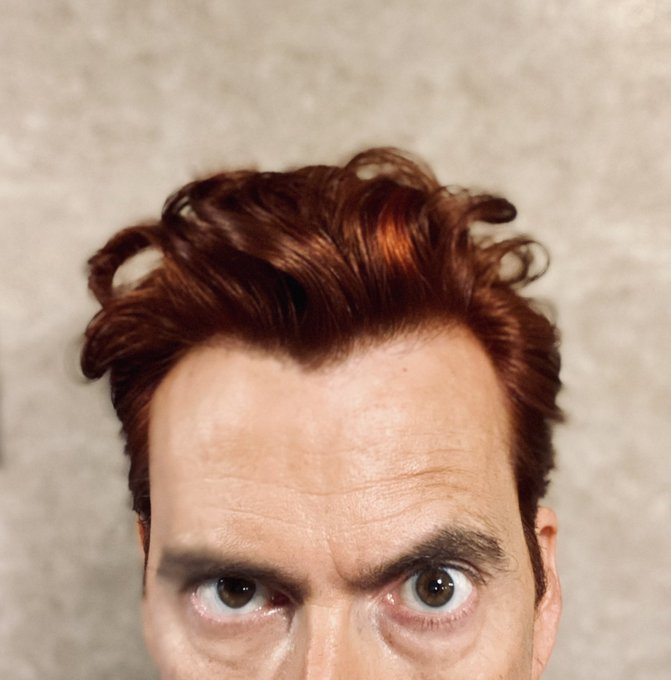 The first photo of David Tennant's ginger hair for filming of the second series of Good Omens